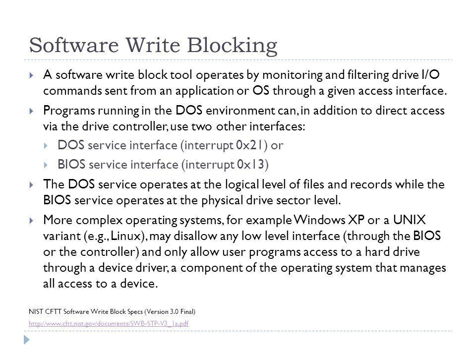 Software Write Blocking