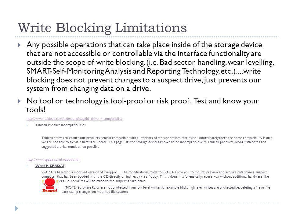 Write Blocking Limitations