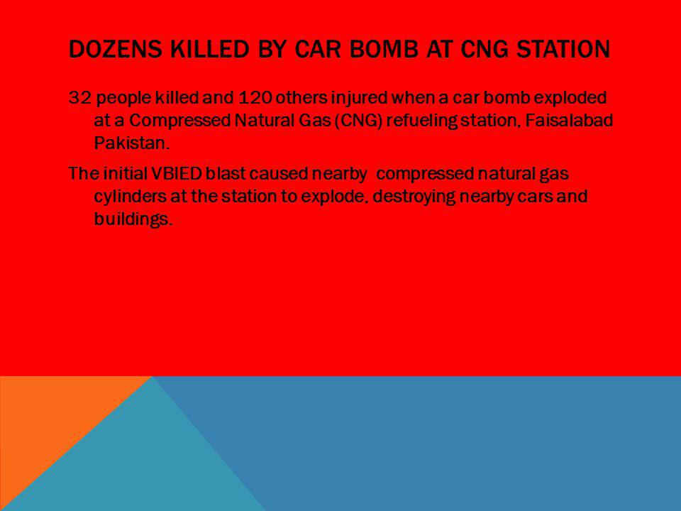 Dozens killed by car bomb at cng station