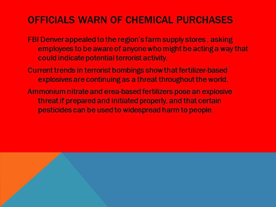 Officials warn of chemical purchases