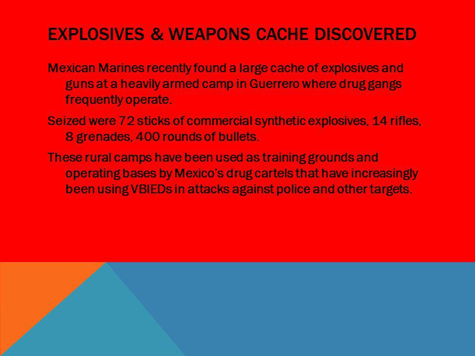 Explosives & weapons cache discovered