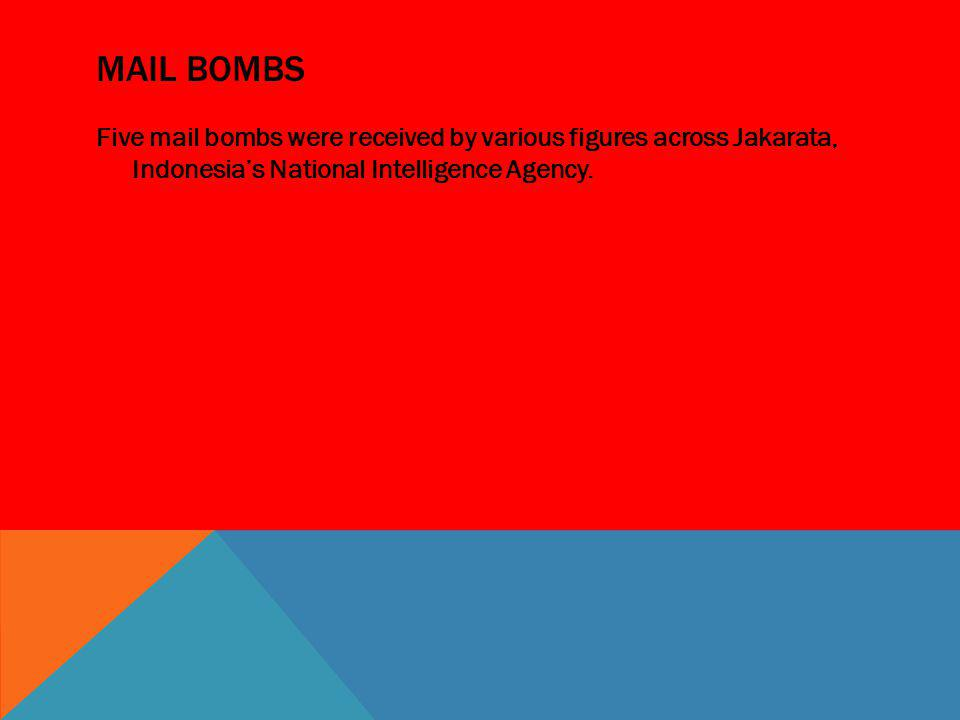 Mail bombs Five mail bombs were received by various figures across Jakarata, Indonesia's National Intelligence Agency.
