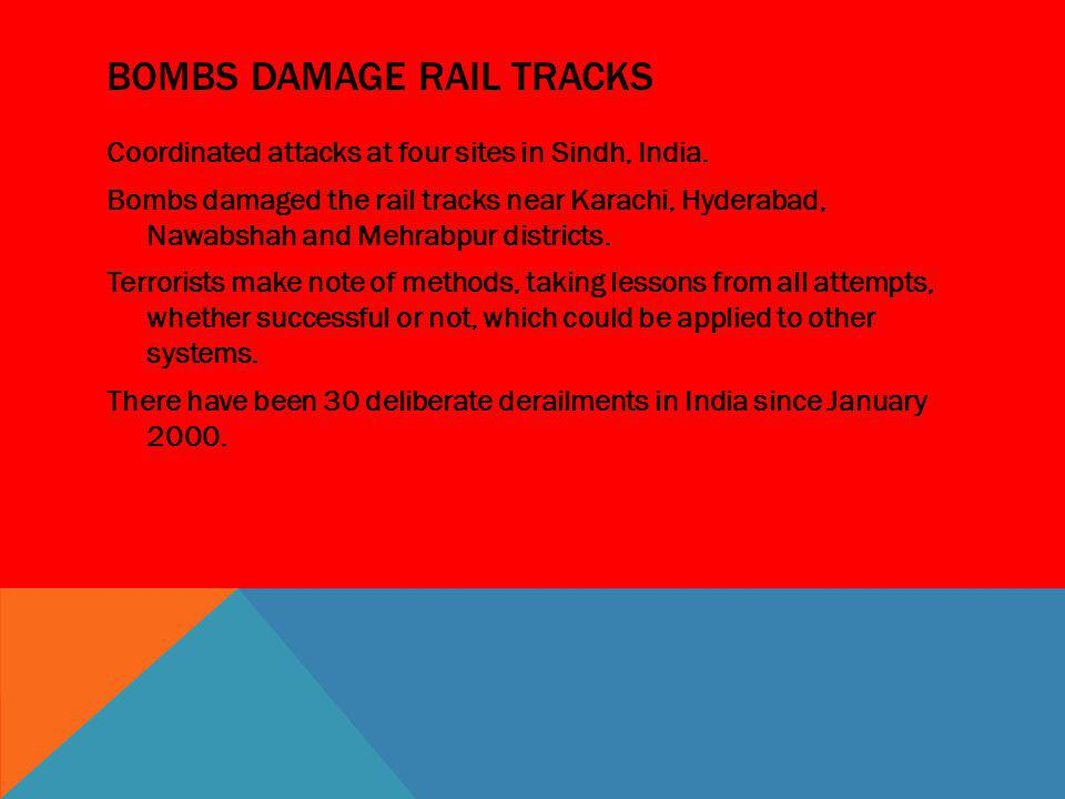 Bombs damage rail tracks