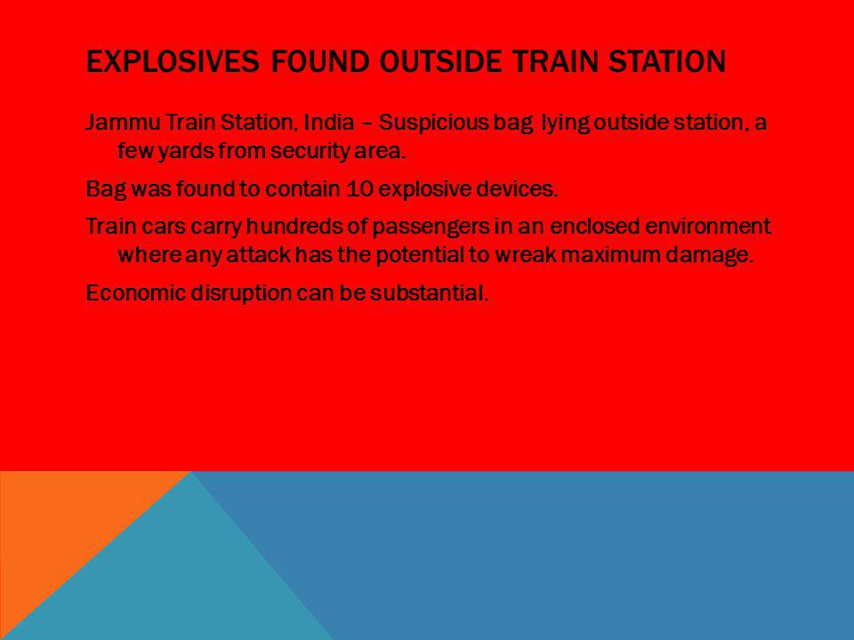 Explosives found outside train station