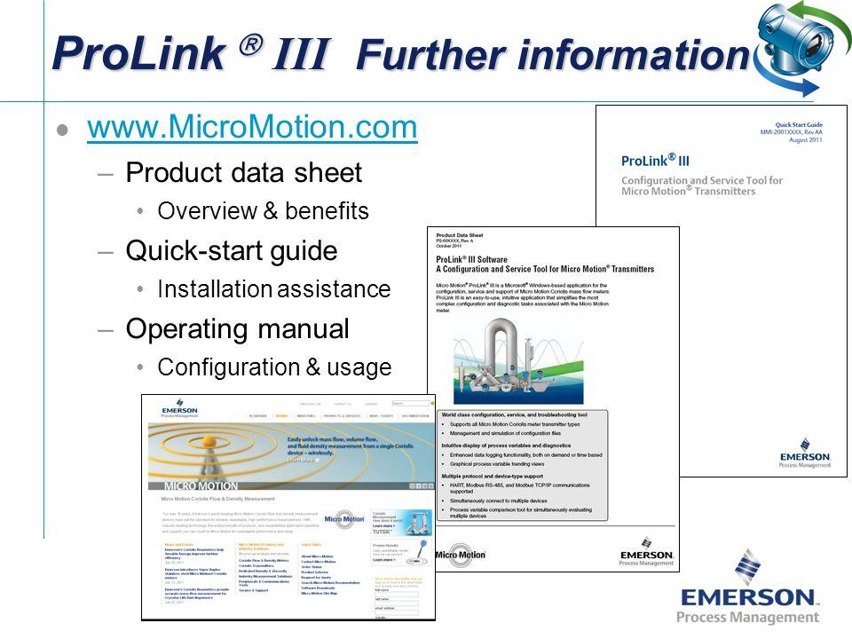 ProLink  III Further information