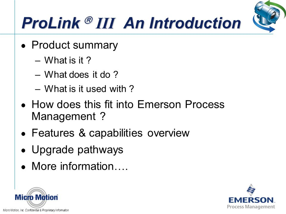 ProLink  III An Introduction