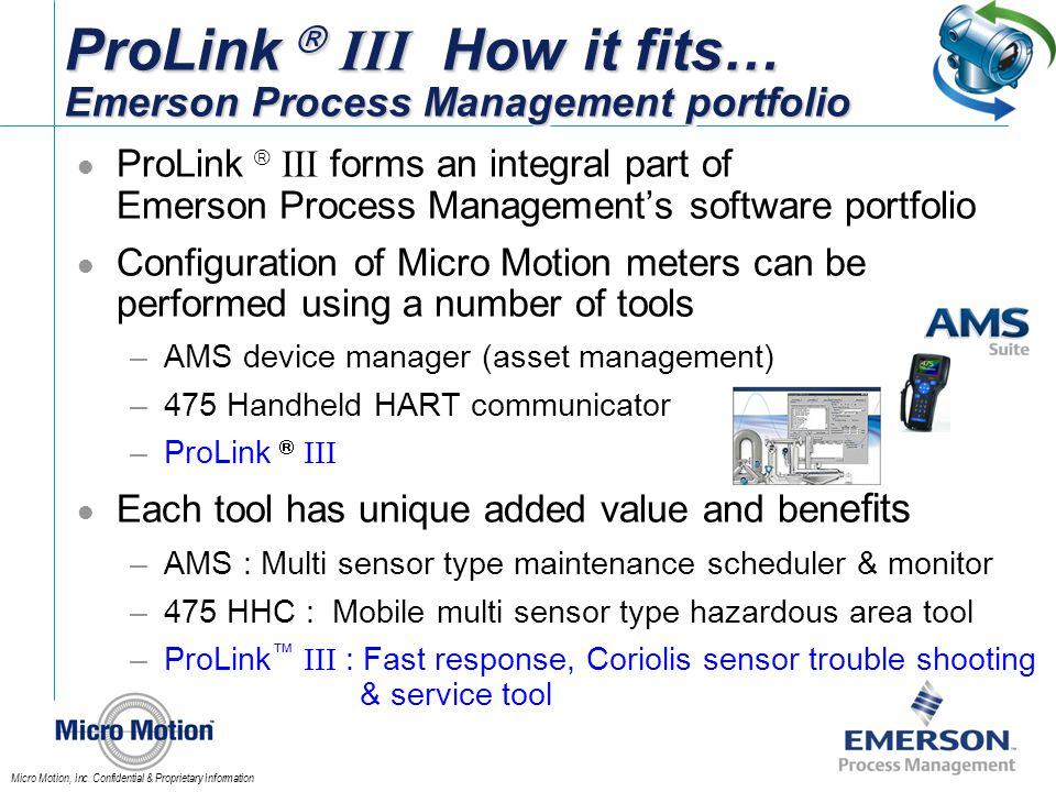 ProLink  III How it fits… Emerson Process Management portfolio