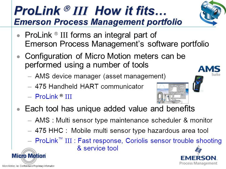 ProLink  III How it fits… Emerson Process Management portfolio