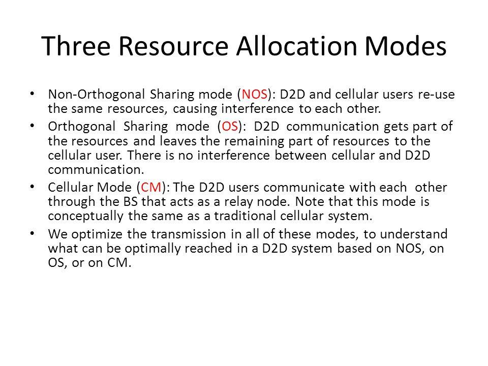 Three Resource Allocation Modes