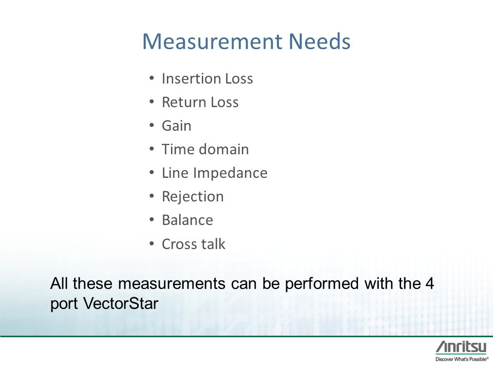 Measurement Needs Insertion Loss Return Loss Gain Time domain