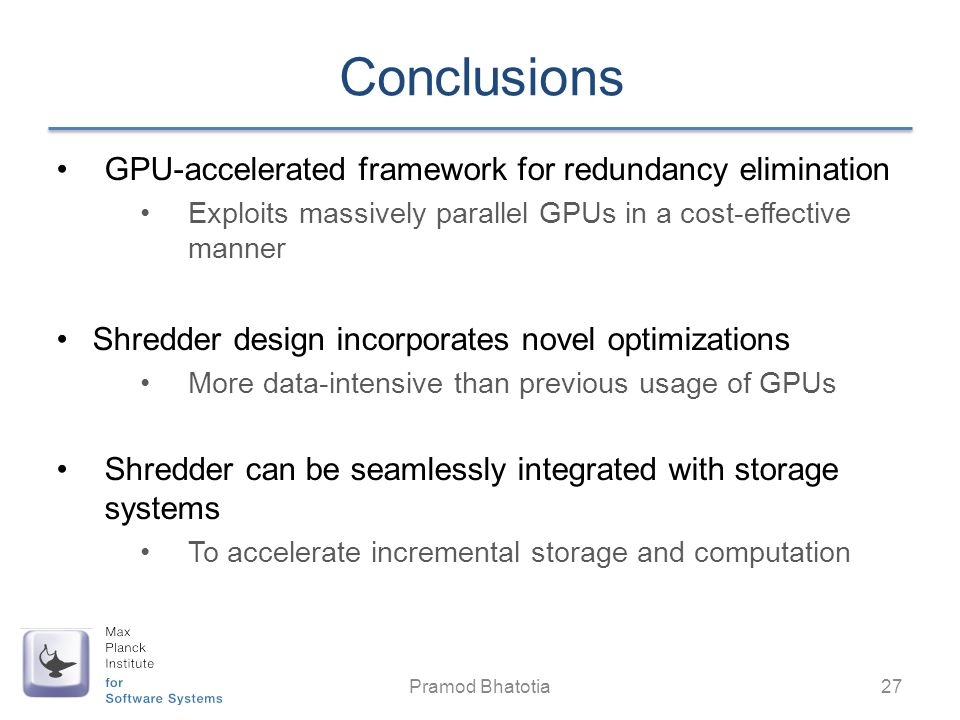 Conclusions GPU-accelerated framework for redundancy elimination