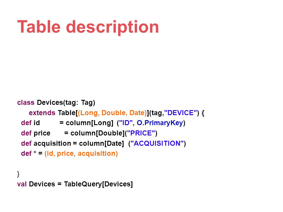 Table description class Devices(tag: Tag)