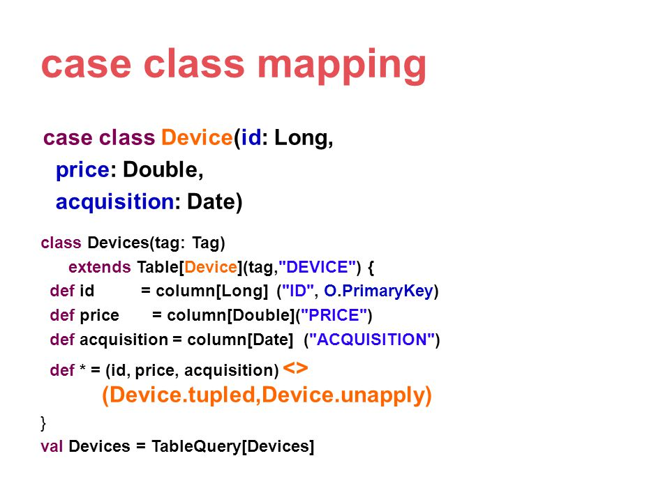 case class mapping case class Device(id: Long, price: Double, acquisition: Date) class Devices(tag: Tag)
