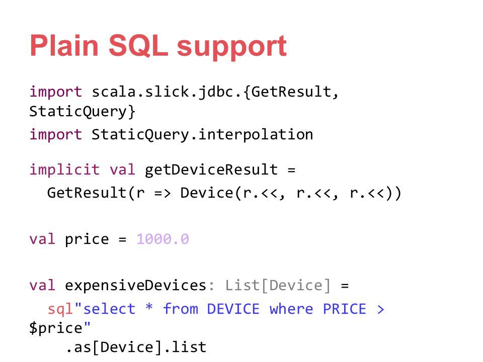 Plain SQL support