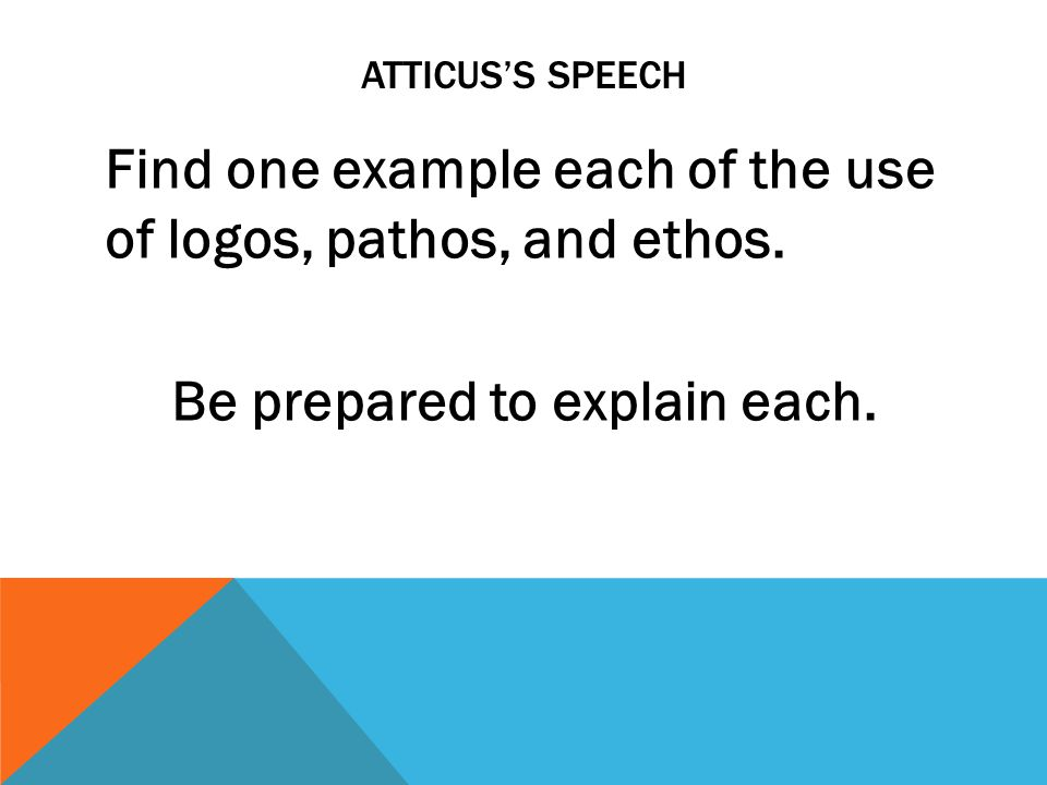 Atticus's Speech Find one example each of the use of logos, pathos, and ethos.