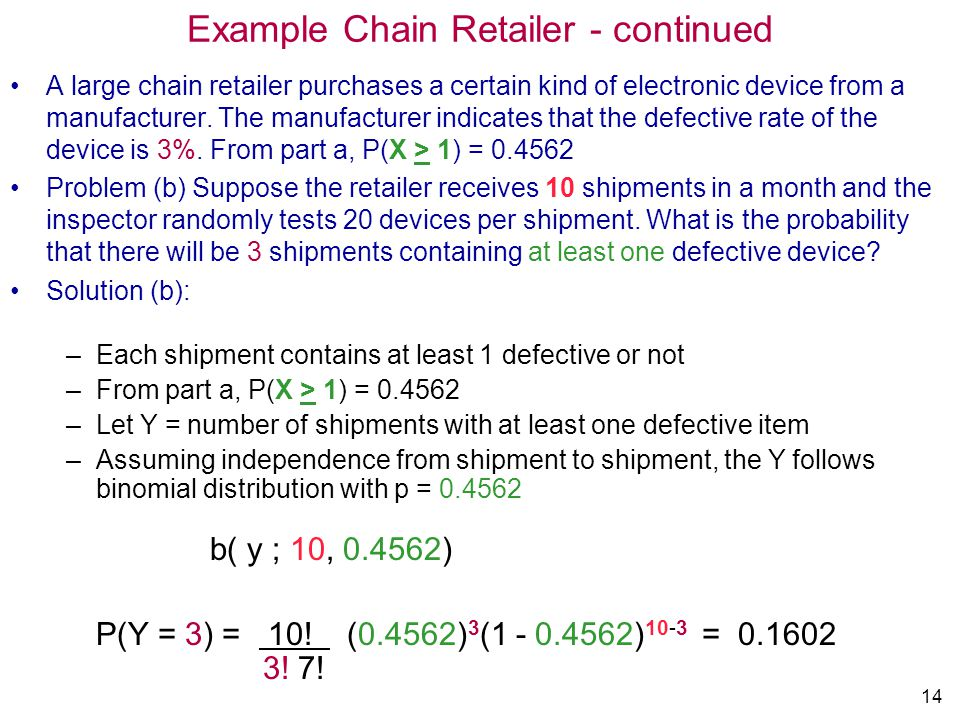 Example Chain Retailer - continued