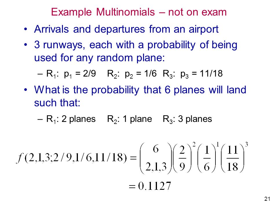Example Multinomials – not on exam