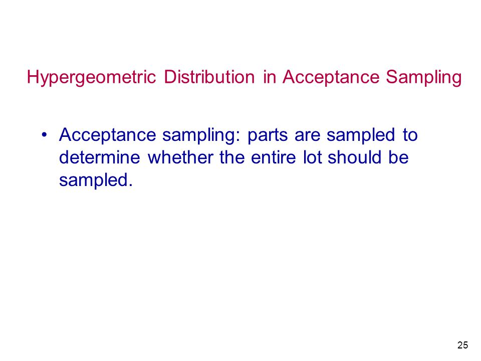 Hypergeometric Distribution in Acceptance Sampling