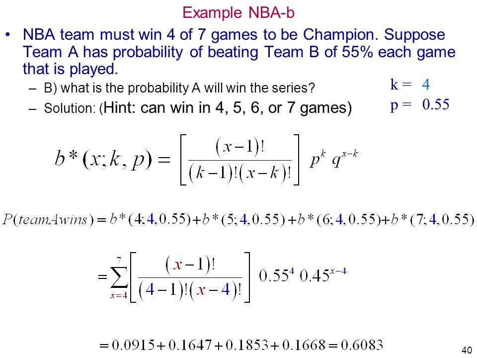 IMSE 213 Prob&Statistics Example NBA-b. 4/1/2017.