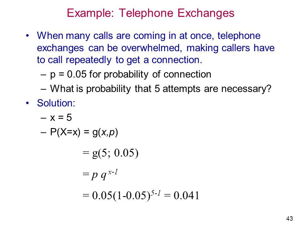 Example: Telephone Exchanges