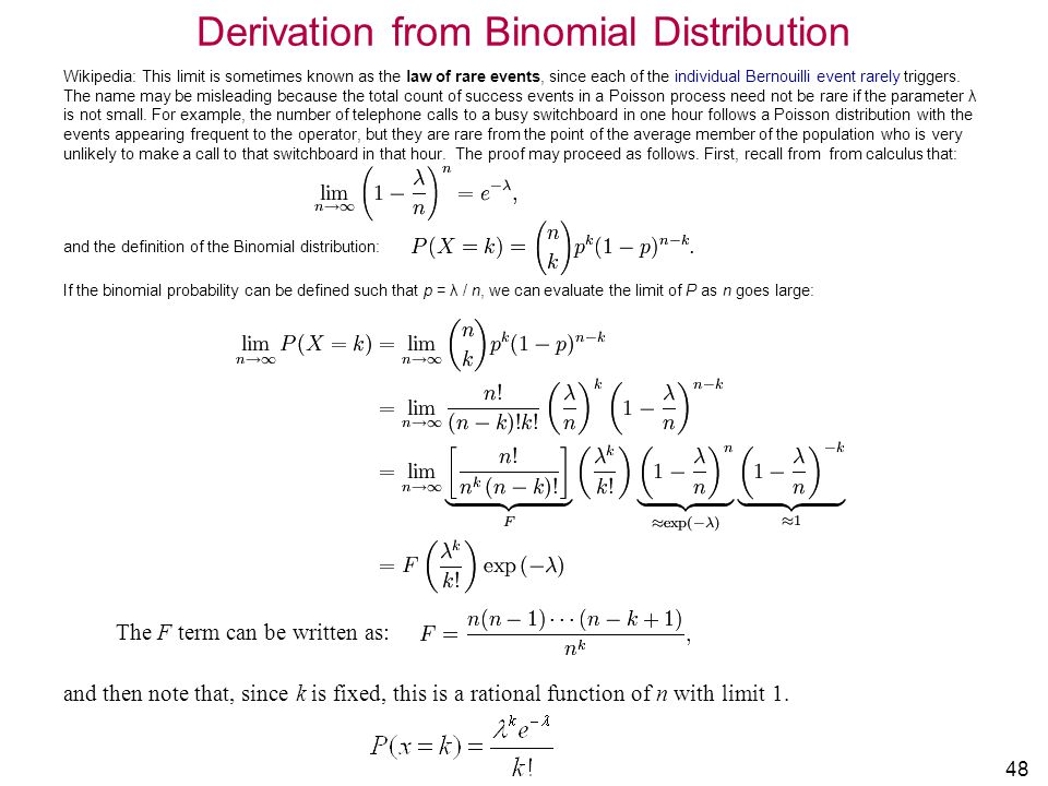Derivation from Binomial Distribution