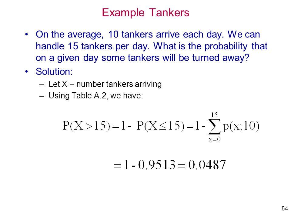 IMSE 213 Prob&Statistics Example Tankers. 4/1/2017.