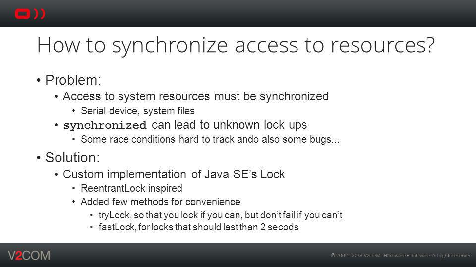 How to synchronize access to resources