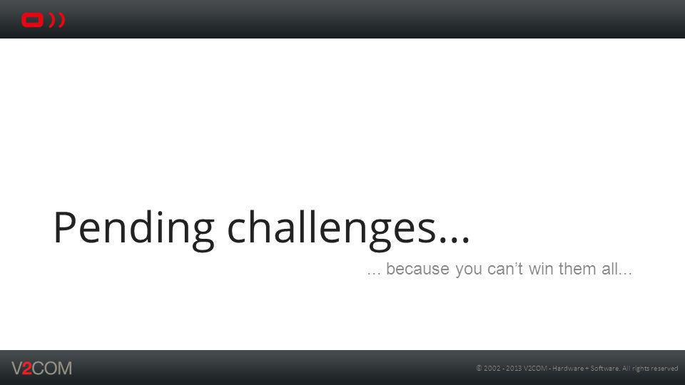Pending challenges... ... because you can't win them all...