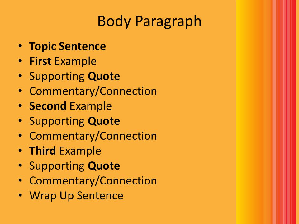 Body Paragraph Topic Sentence First Example Supporting Quote