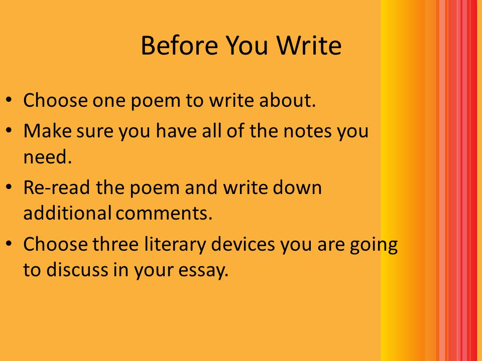 Before You Write Choose one poem to write about.