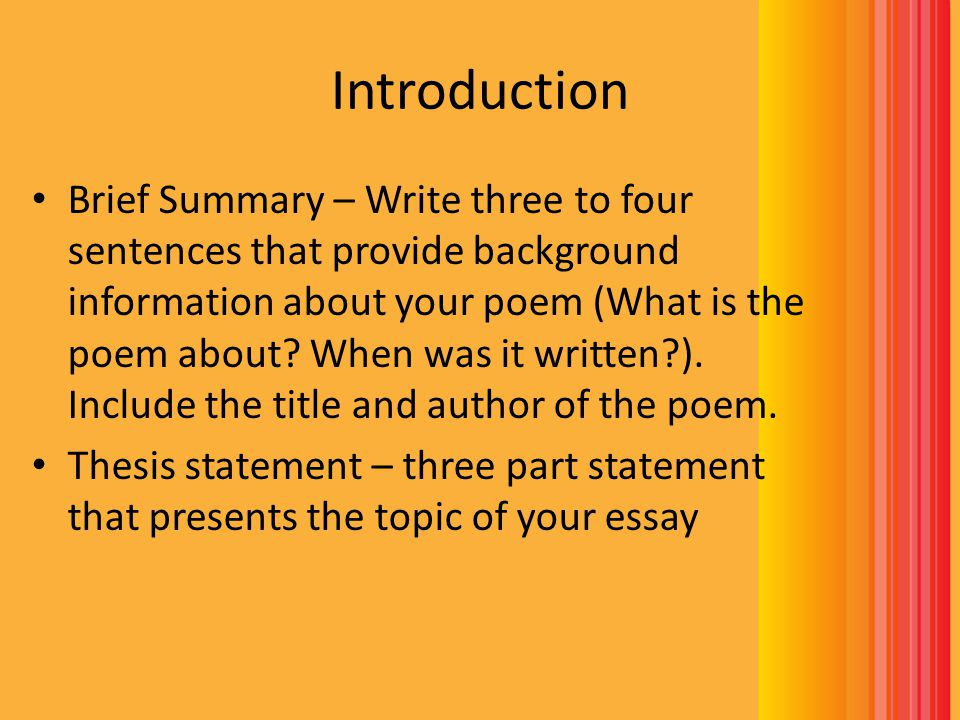 how to write a poem analysis essay ppt video online  8 introduction