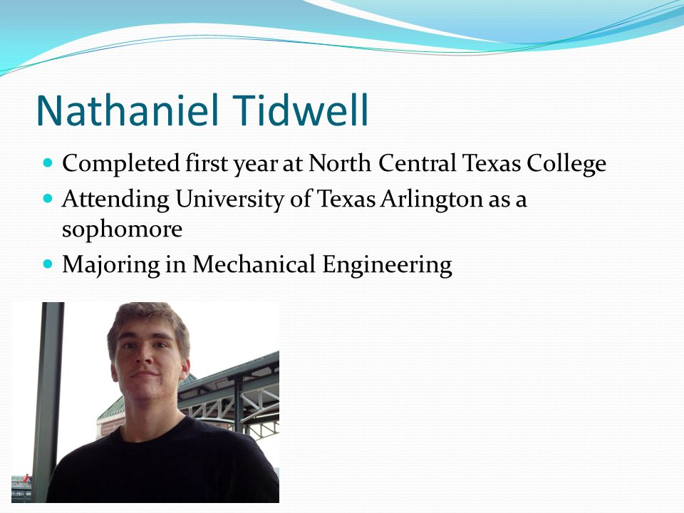 Nathaniel Tidwell Completed first year at North Central Texas College