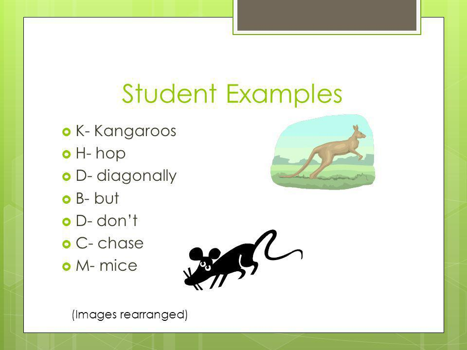 Student Examples K- Kangaroos H- hop D- diagonally B- but D- don't