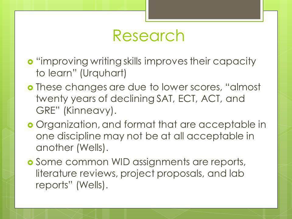 Research improving writing skills improves their capacity to learn (Urquhart)