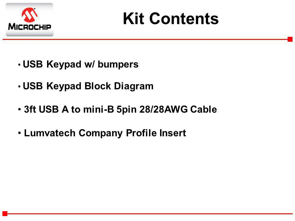 Kit Contents 3ft USB A to mini-B 5pin 28/28AWG Cable
