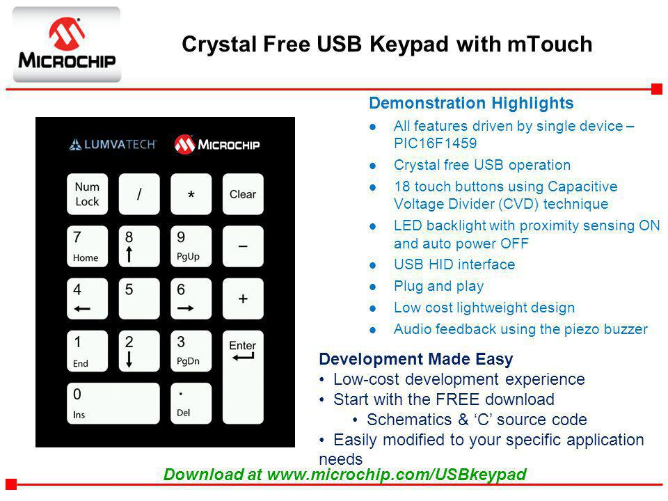 Crystal Free USB Keypad with mTouch