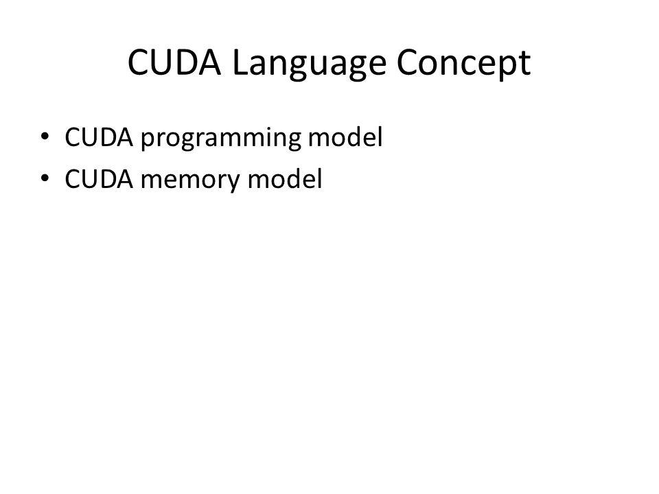CUDA Language Concept CUDA programming model CUDA memory model