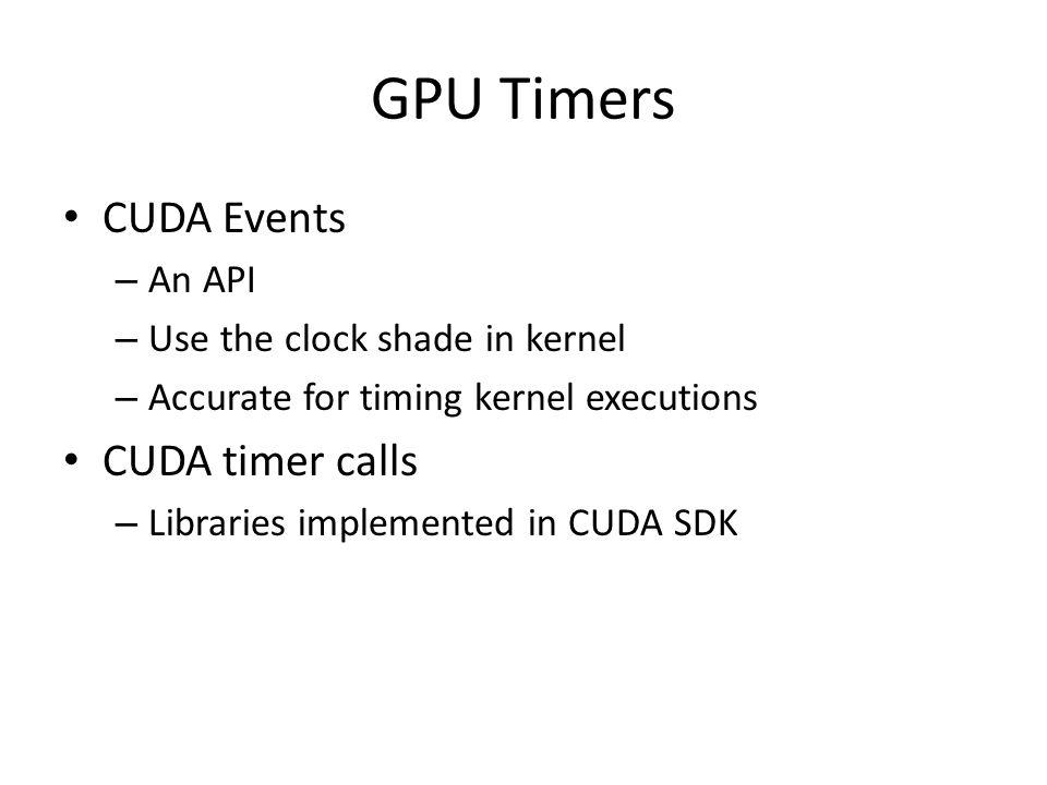 GPU Timers CUDA Events CUDA timer calls An API