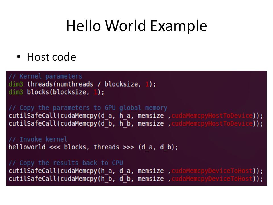 Hello World Example Host code