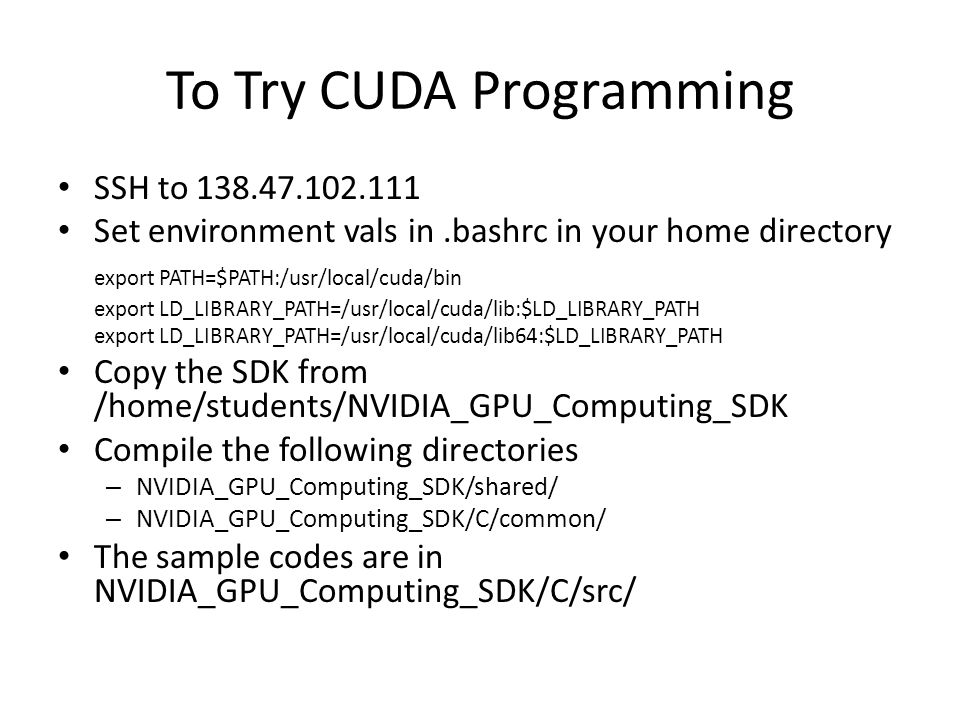 To Try CUDA Programming