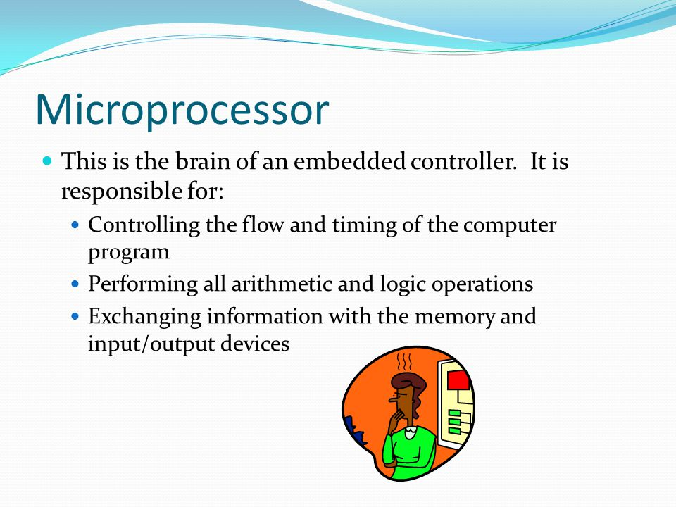 Microprocessor This is the brain of an embedded controller. It is responsible for: Controlling the flow and timing of the computer program.