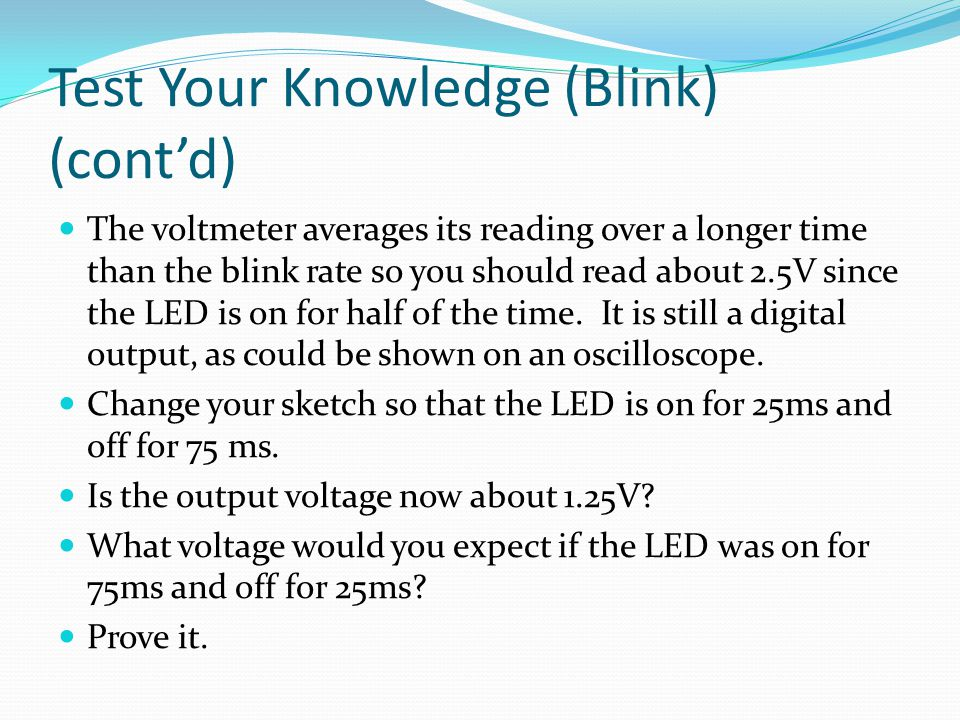Test Your Knowledge (Blink) (cont'd)