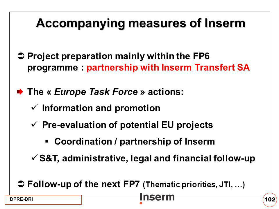 Accompanying measures of Inserm