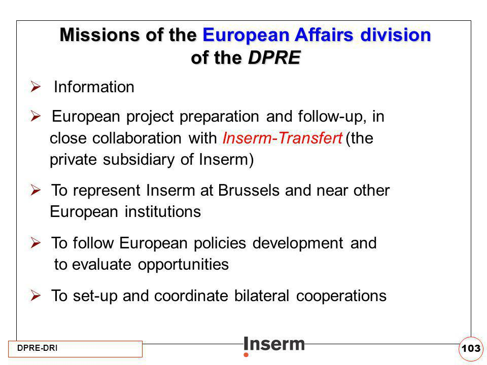 Missions of the European Affairs division of the DPRE