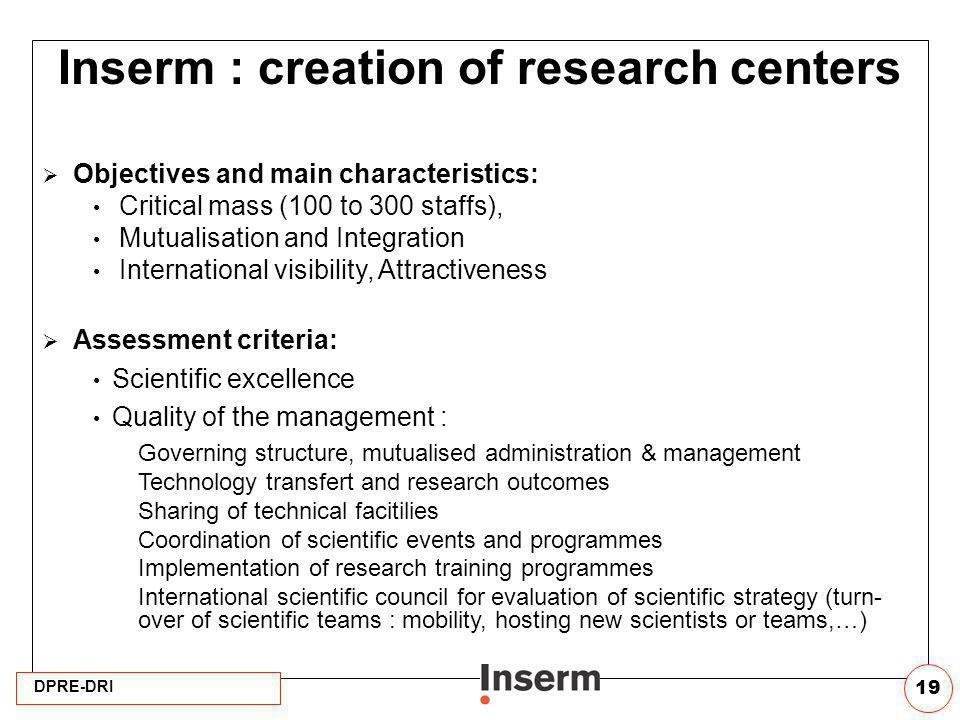 Inserm : creation of research centers