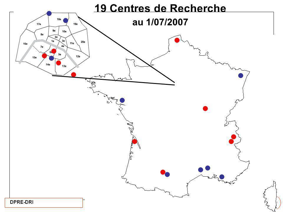 19 Centres de Recherche au 1/07/2007