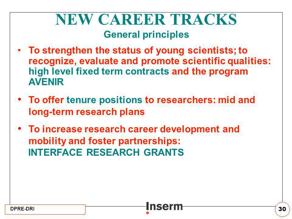 NEW CAREER TRACKS General principles