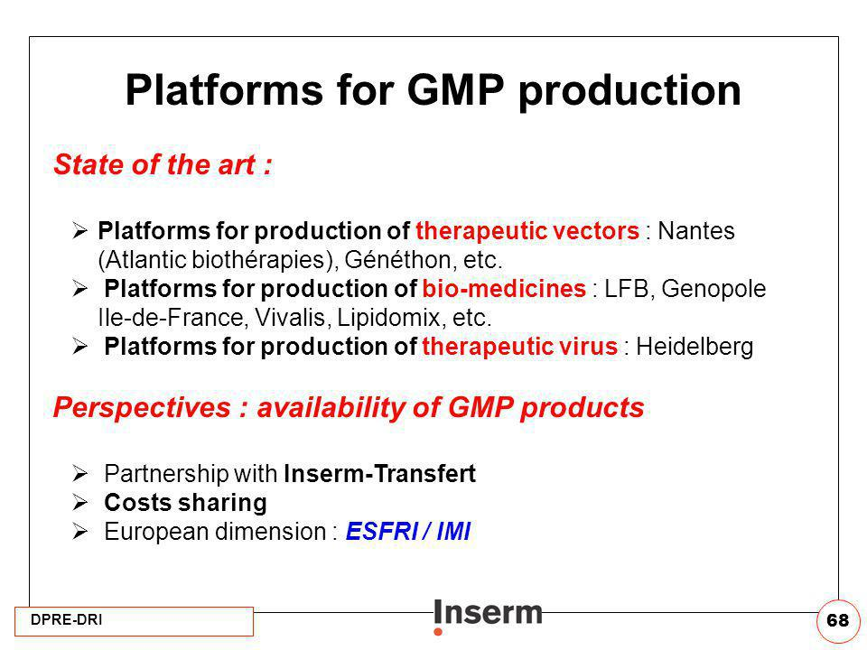 Platforms for GMP production
