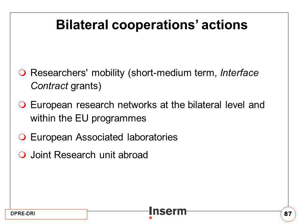Bilateral cooperations' actions