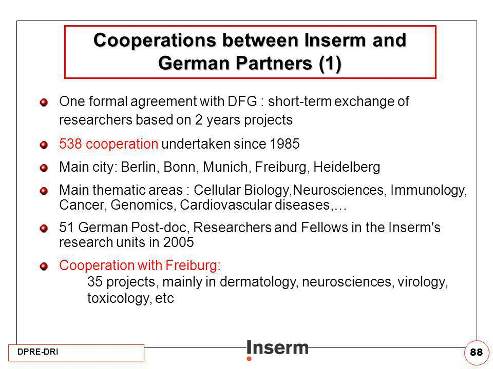 Cooperations between Inserm and German Partners (1)